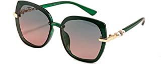 LUKEEXIN Ladies Fashion Square Driving Polarized Sunglasses with Pearls, UV Protection (Color : Green)