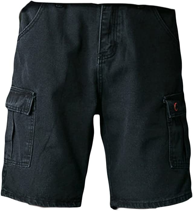 Men's Straight Loose Cargo Denim Shorts Outdoor Casual Cropped Jean Short Multi Pockets Durable Baggy Work Jeans Shorts (Black 1,27)