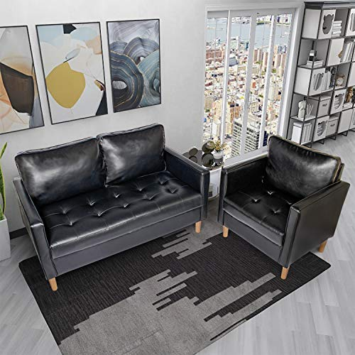 YDF Black Leather Sectional Sofa Set of 2 Loveseat and Single Leather Love Seats Stitching Tufted Cushion Suitable for Small Space Configuration Sofa, Office Meeting Room Couch