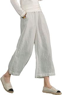 Les umes Womens Casual Loose Plus Size Elastic Waist Cotton Trouser Cropped Wide Leg Pants