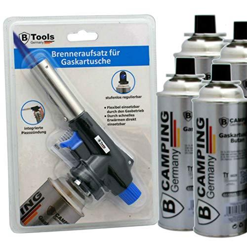 TronicXL Lötbrenner + 4 Kartuschen Aufsatz für Butan Gas Kartuschen - Löt brenner Gasbrenner Gasanzünder Lötlampe mit Piezozündung Bajonett Anschluss Set