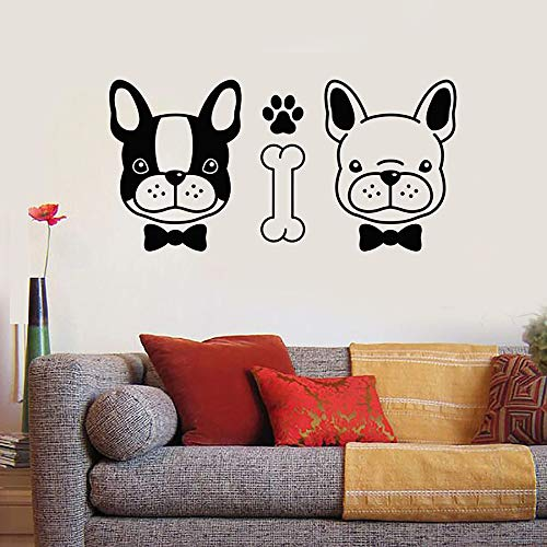SUPWALS Pegatinas de pared Pareja Perros Tatuajes De Pared Mascotas Lindas Animales Peluquería Salón Tienda De Mascotas Vivero Decoración Interior Vinilo Ventana Pegatinas Arte Mural 57X28Cm