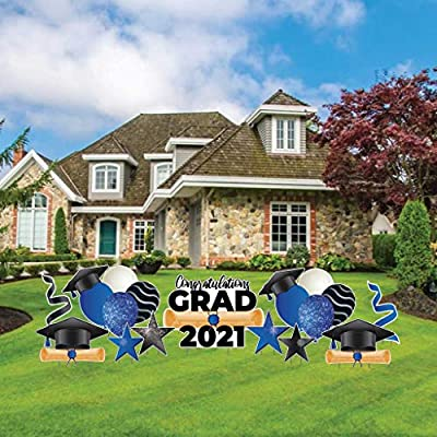 VictoryStore Yard Decorations Graduation Yard Card Flair & Accessories 11 Pc Set, Includes Stakes (Blue Sparkle 19148)
