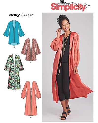 Simplicity Schnitmuster 7048.A,Kimono [Damen, Gr.30-52] zum selber nähen, ideal für Fortgeschrittene [L3]