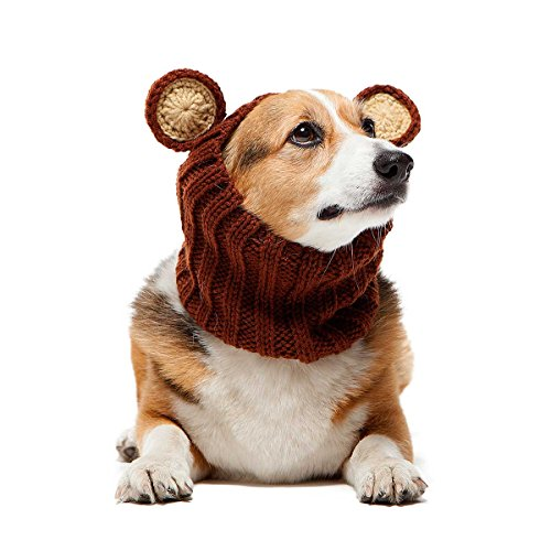 Zoo Snoods Grizzly Bear Dog Costume – Neck and Ear Warmer Hood for Pets (Medium)