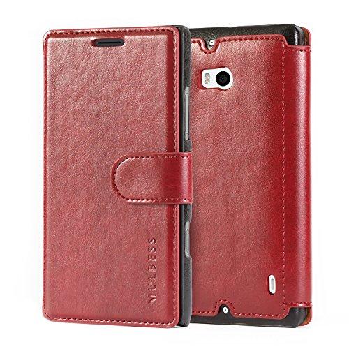 Mulbess Layered Dandy Handyhülle für Nokia Microsoft Lumia 930 Hülle Leder, Lumia 930 Schutzhülle, Nokia Microsoft Lumia 930 Klapphülle, Handytasche für Nokia Microsoft Lumia 930 Tasche, Wein Rot