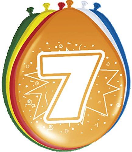 Folat 08207 7. Geburtstag Ballons 30 cm-8 Stück, Mehrfarbig