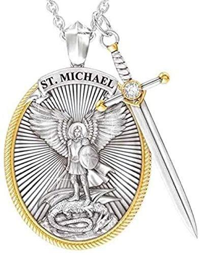 Arcángel San Miguel collar de aleación, collar con colgante de espada divina Senhield de protección para hombre, 3 unidades