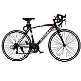 HK martロードバイク700C スポーツバイク シマノ14段変速 2箇所ブレーキシステム搭載 LEDライト付き 超軽量高炭素鋼フレーム自転車 01 (ブラック)
