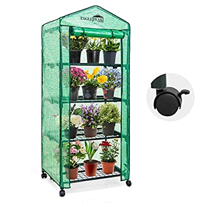 EAGLE PEAK 28'' x 19'' x 65'' Mini Greenhouse w/Casters, 4-Tier Portable Rack Shelves Gardening Plant Green House for Outdoor & Indoor with Roll-Up Zipper Door, Green