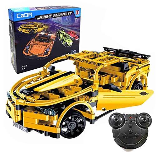 The perseids 2.4 GHz Ferngesteuerte Auto, RC Steckbausatz, Technic Bausteine Car, DIY Sportwagen, Block Building Brick Fahrzeug, Vehicle Toy für Kinder, 419 Teile(Gelb)