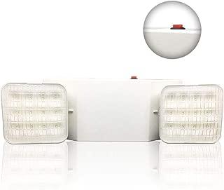 Emergency Lights, AUSPICE Two-Head Adjustable LED Emergency Light, Battery Backup Wall-Mounted Light Meets US Standard UL 924 Certification, 6500K Cool White Light (1 Pack)