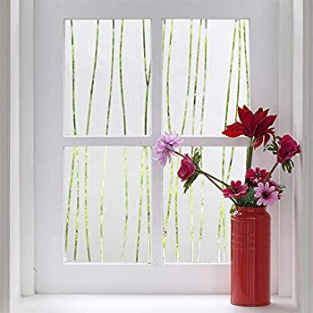 Finnez Window Film Privacy and Light Protection Sticker Film Frosted Look Static Cling for Home Office  17.5   x 78.7   Irregular Stripe