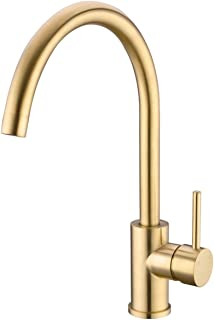 TRUSTMI Brushed Gold Solid Brass 360 Degree Swivel Hot and Cold Mixer Single Handle Bar Kitchen Sink Faucet