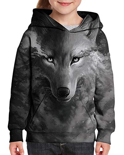 Kids Hoodies for Boys Girls Novelty Design Galaxy Wolf 3D Cool Pullover Hoody Hooded Sweatshirts Grey Rave Design Slim Fit Casual School Playwear Hoodie Tops Fall Outfits 5Y/6Y