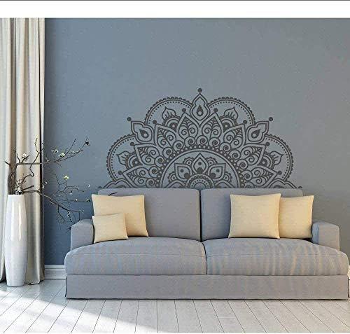 Vinyl väggklistermärke halv mandala väggmålning yoga älskare gåva hem säng dekoration halv mandala design fönster klistermärke 85 x 42 cm