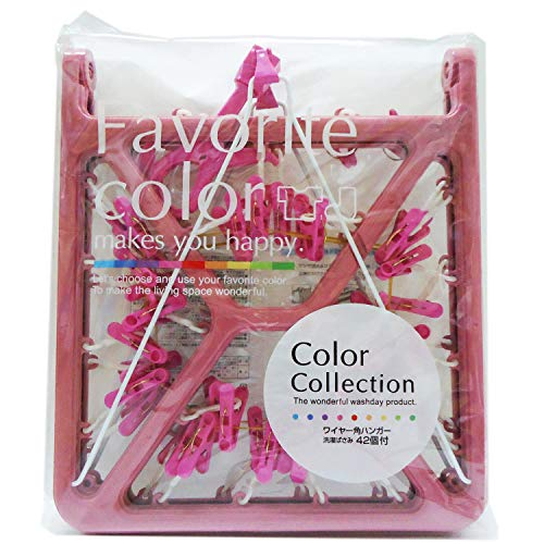 オーエ 洗濯 物干し ハンガー ピンク 約幅34×長さ75 カラーコレクション ワイヤー 角ハンガー 洗濯バサミ 42ピンチ