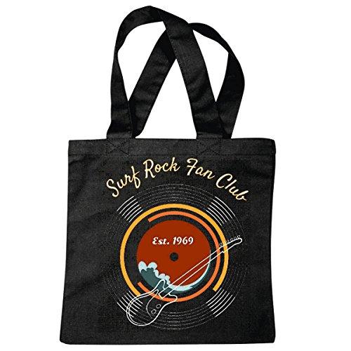 Tasche Umhängetasche SURF Rock Fan Club Gitarre Schallplatte Techno Jazz Funky Soul Trance Festival House Hiphop HIP HOP DJ Einkaufstasche Schulbeutel Turnbeutel in Schwarz