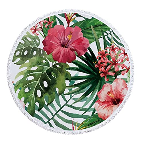 IAMZHL Toalla de Playa Redonda delicadas Impresiones FloralesMicrofibra Toallas de baño de Tela sin Arena para Alfombra al Aire Libre Sala de Estar decoración del hogar-a9-150x150cm