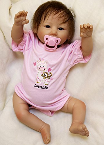 Wamdoll 20 inch Sweet Happy as can be Alive Silicone Reborn Baby Dolls with Hair