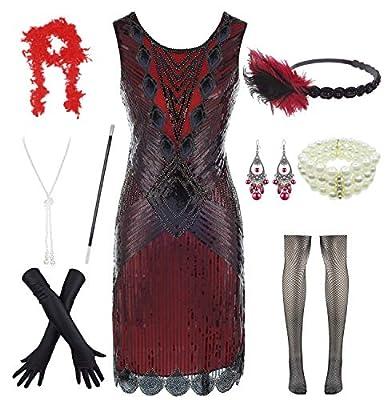 Women Plus Size 1920s Sequin Beaded Tassels Hem Flapper Dress with 20s Accessories Set