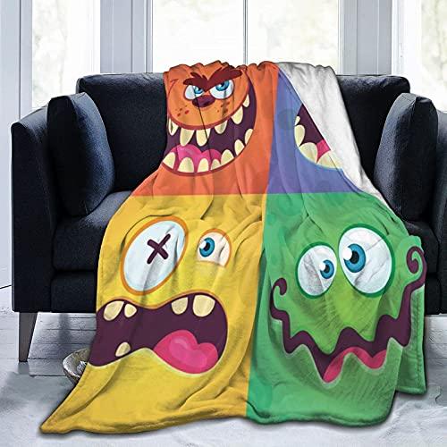 Conjunto de caras de Mo-Nster de dibujos animados Conjunto de vectores de franela, manta de sherpa, manta ligera de almacenamiento cálido para sala de estar habitación de los niños de 60 x 50