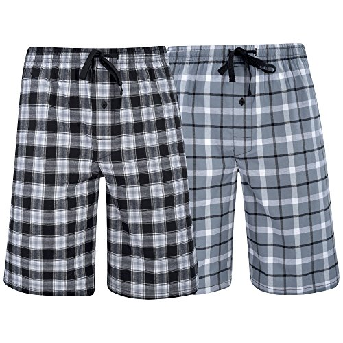 Hanes Men's  Big Men's Woven Stretch Pajama Shorts  2 Pack Grey  Black X-Large