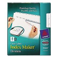 Avery–インデックスメーカーホワイトディバイダーコピー機for eight-tab、文字、クリア、5セット/パック–パックof 3