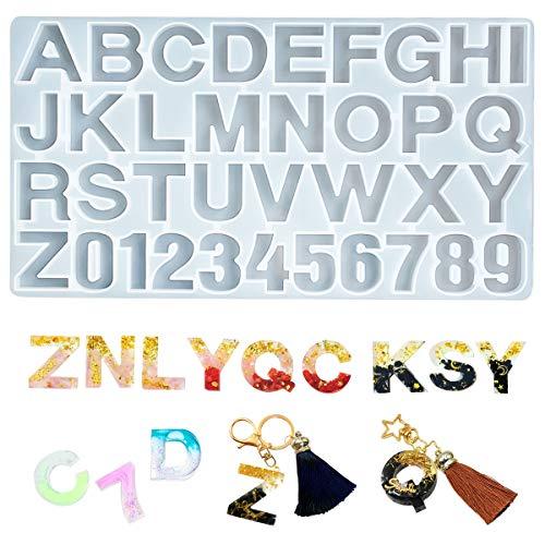 iSuperb Moldes Silicona Resina Moldes Letras Grandes Fabricación de Colgante Creativo Bricolaje DIY Joyerias Collar Pendiente (26 letras y números)