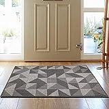 SHACOS Washable Door Mat Large Indoor Rubber Backing Non Slip Grey Door Mats Inside Front Door Carpet Mat Dirt Trapper Rugs Entrance Doormat 80x120cm