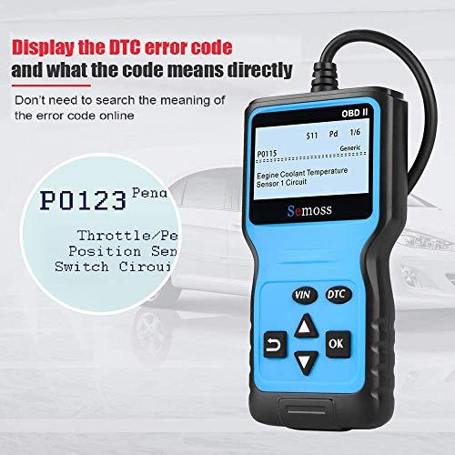 OBD2 Scanner Auto Valise Diagnostic Multimarque,Outils Diagnostics Système Moteur OBD-II pour Lire et Effacer Le Code de Défaut du Véhicule,Bleu