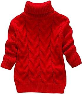 Suéter para Bebé Niños Niña Jumper Invierno Jersey de Punto Grueso Cuello Redondo Cálido Cómodo Moda Color Sólido Caricatura Patrón Transpirable Suave Amigable con La Piel Adecuado 1-4 Años