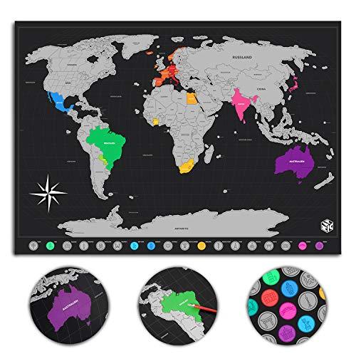 mapic Weltkarte zum Rubbeln, Scratch map zum Freikratzen, Wandbild als Reisetagebuch, Poster Deutsch (Schwarz/Silber, für Bilderrahmen 50 x 70 cm)