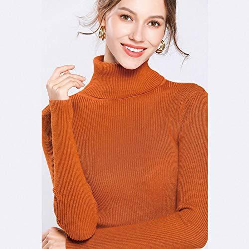 Jersey Suéter Sweater Suéter De Mujer Casual Cuello Alto De Manga Larga Jersey De Punto Elegante Slim Fit Suéter Básico Mujer Talla Única 17