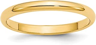 14k Yellow Gold 2.5mm Half Round Wedding Ring Band Size 10 Classic Fine Jewelry For Women Gifts For Her