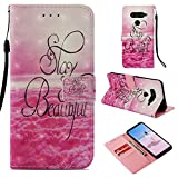 DodoBuy LG V50 ThinQ Hülle 3D Flip PU Leder Schutzhülle Stand Handy Tasche Brieftasche Wallet Hülle Cover für LG V50 ThinQ - Stay Beautiful