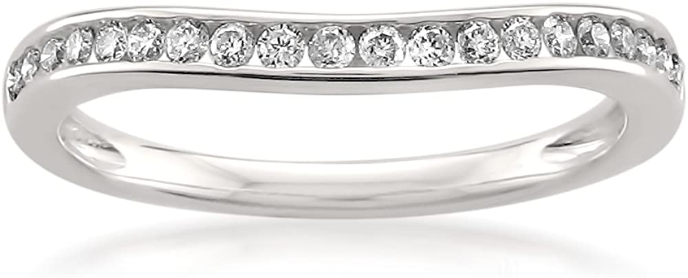 14k White Gold Round Diamond Curved Bridal Wedding Band Ring (1/4 cttw, H-I, SI2-I1) | Real Diamond Wedding Band For Women | Gift Box Included
