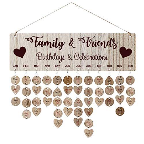 NUOBESTY Familia y Amigos Cumpleaños recordatorio Calendario Diy pared pared pared madera pizarra placa para cumpleaños regalo de aniversario para madre OMA