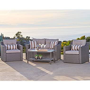 Solaura Outdoor Fully Woven 4-Piece Conversation Furniture Set All Weather Grey Wicker with Neutral Beige Waterproof Cushions & Sophisticated Glass Coffee Table | Patio, Backyard, Pool