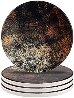 Ceramic Coaster Set of 4,Absorbent Stone Coasters for Cold Drinks Coffee Mug Glass Cup(Retro Sandstone) [並行輸入品]