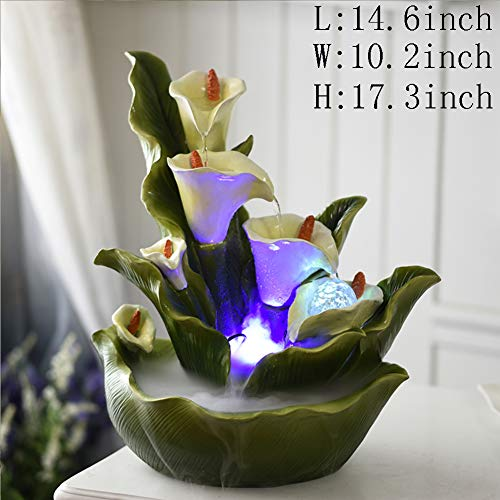Statues Decoration Crafts,Desktop Water Ornaments Flower Fairy Fountain -Calla Lily 17.3inch