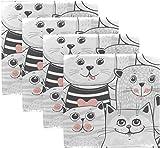 Tovaglioli di stoffa 'N/A' per tavolo da pranzo, motivo: gatto fortunato, lavabile, set di 4 tovaglioli riutilizzabili per cena per feste e feste, 50,8 x 50,8 cm