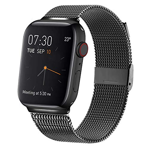 MCORS Compatible with Apple Watch Band 42mm 44mm,Stainless Steel Mesh Metal Loop with Adjustable Magnetic Closure Replacement Bands Compatible with Iwatch Series 5 4 3 2 1 Black