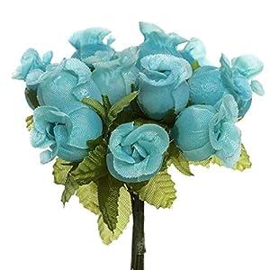 CB 144 Miniature Poly Rose Silk Favor Flower Pick Wedding Shower – Aqua