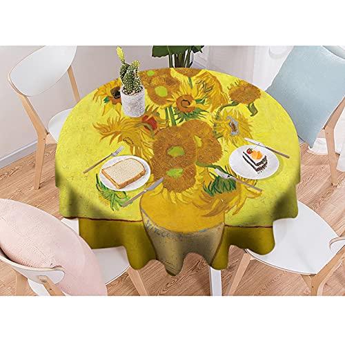Mantel Lavable de Lino de algodón con diseño de borlas, Mantel Redondo, Ideal para Cocina, Comedor, Mesa, decoración de Buffet