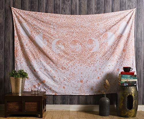 Aakriti Gallery Baumwolle Mandala Wandteppich Wandbehang - Böhmische Tagesdecke, Boho Decke/Überwurf Wandteppiche für Wohnzimmer, Wohnkultur (Mond Rose, 235 x 210 cm)
