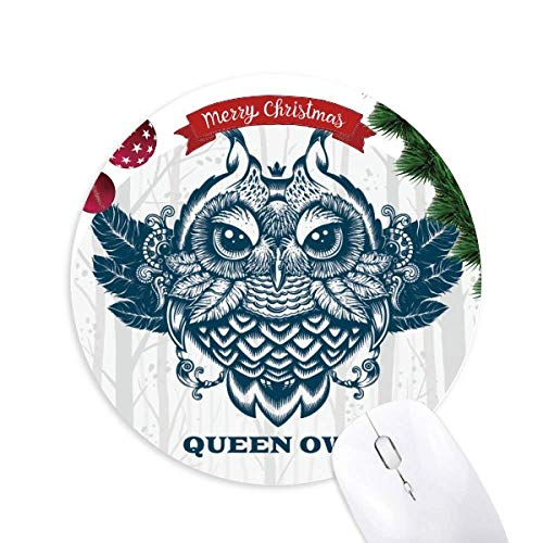 Queen Owl Forest Round Rubber Mouse Pad Weihnachtsbaum Mat