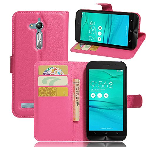 Tasche für Asus ZenFone Go ZB500KL (5.0 zoll) Hülle, Ycloud PU Ledertasche Flip Cover Wallet Hülle Handyhülle mit Stand Function Credit Card Slots Bookstyle Purse Design Rose Red
