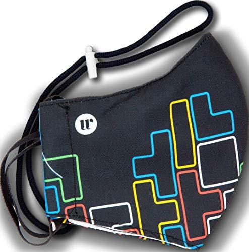 WEARK Mascarilla higienica reutilizable de microfibra fabricada en España con funda interior para filtro e innovador sistema de cierre (Adulto) Tetris Negra