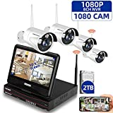 SMONET 1080P Wireless Security Camera Systems,8-Channel Video Security Systems(2TB Hard Drive,4pcs 1080P(2.0MP) Outdoor&Indoor Wireless IP Cameras,with 10.1inches Monitor,P2P,Easy Remote View,Free APP